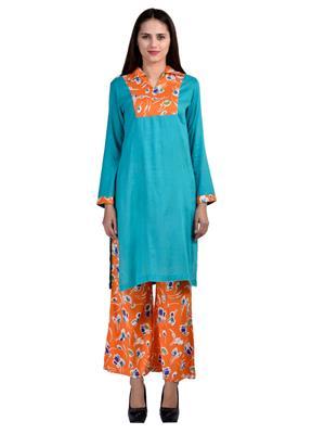 Track Deal Tdkrtplz1528 Turquoise-Orange Women Kurti Palazzo Set