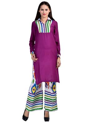 Track Deal Tdkrtplz1544 Purple-White Women Kurti Palazzo Set