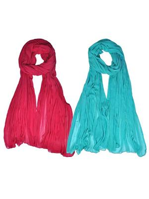 Trackdeal Tdldt142 Multicolor Women Dupatta Combo-Pack-Of-2