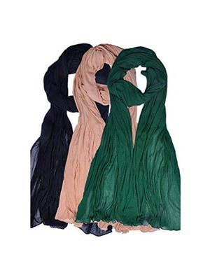 Trackdeal Tdltd179 Multicolored Women Dupatta Combo Of 3
