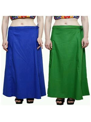 Trackdeal Tdpt1003 Blue-Green Women Peticoat Set Of 2