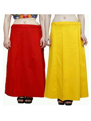 Trackdeal Tdpt1026 Red-Yellow Women Peticoat Set Of 2