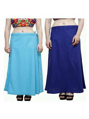Trackdeal Tdpt1041 Sky Blue- Blue Women Peticoat Set Of 2