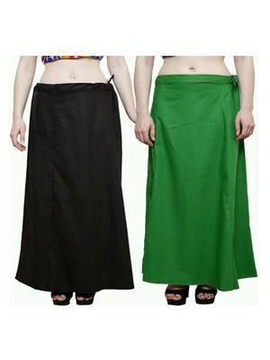 Trackdeal Tdpt1044 Black- Green Women Peticoat Set Of 2