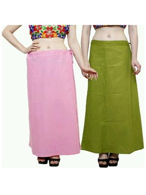 Trackdeal Tdpt1048 Light Pink-Green Women Peticoat Set Of 2