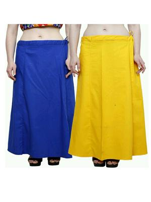 Trackdeal Tdpt1049 Blue-Yellow Women Peticoat Set Of 2