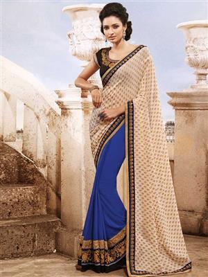 Womaniya  9004B Blue Saree