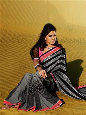 Womaniya  7010A Black Saree
