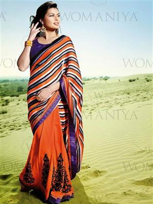 Womaniya  7007 Orange Saree