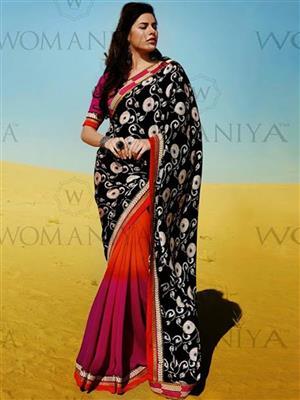 Womaniya  7006 Black Saree