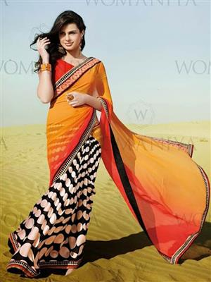Womaniya  7011 Black Saree
