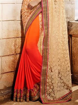 Womaniya_ 9006B Orange Saree