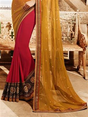 Womaniya  9008B Red Saree