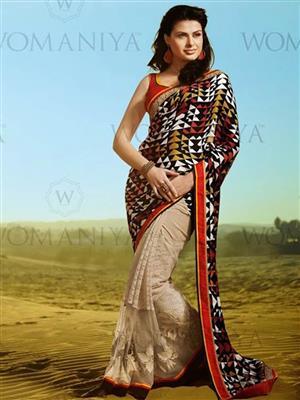 Womaniya  7009 Beige Saree